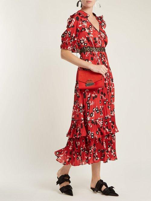Shop Self-Portrait Floral-print pleated crepe de Chine dress online sale