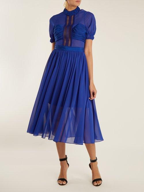 Lace-insert short-sleeved chiffon dress by Self-Portrait