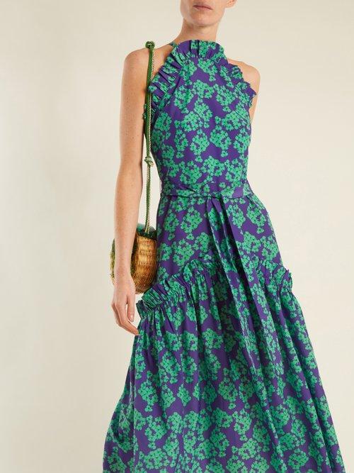 Dora Bouquet-print ruffle-trimmed crepe dress by Borgo De Nor