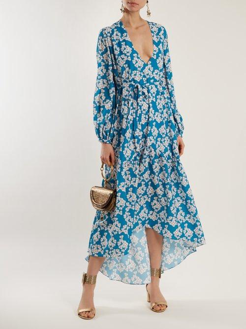 Beatrice Bouquet-print crepe dress by Borgo De Nor
