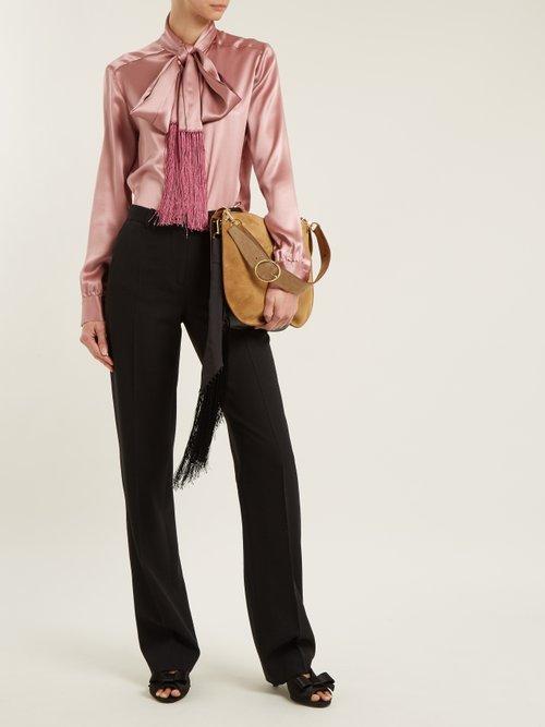 Suede silk-tassel scarf hobo bag by Hillier Bartley