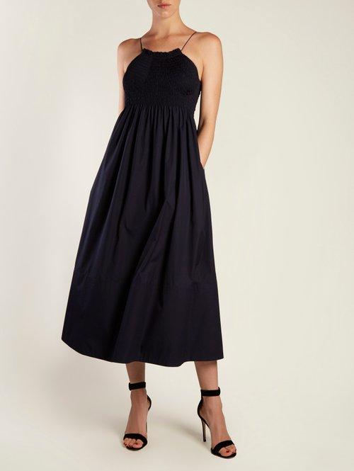 Sleeveless smocked-bodice cotton-poplin midi dress by Calvin Klein 205W39Nyc