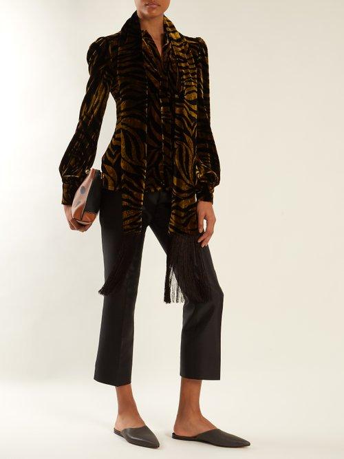 Zebra-print fringe-trimmed velvet blouse by Hillier Bartley