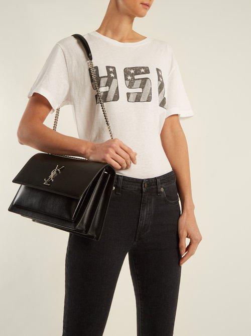 Sunset large leather shoulder bag by Saint Laurent