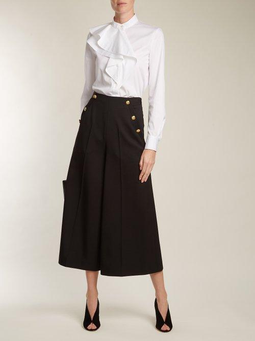 Ruffled-panel cotton-poplin shirt by Lanvin