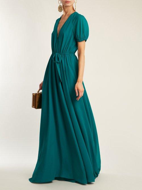 Shop Lanvin V-neck puff-sleeved silk crepe de Chine gown online sale