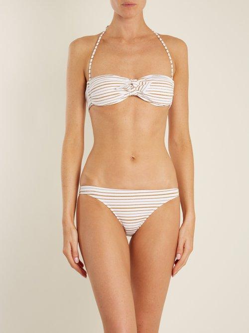 Aruba striped bandeau bikini by Melissa Odabash