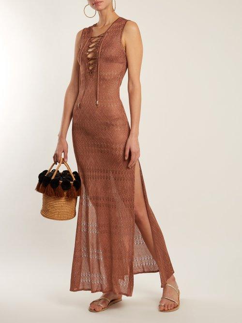 Kourtney Lace Up Pointelle Knit Maxi Dress by Melissa Odabash