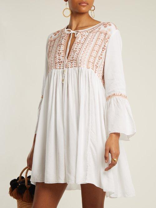 Natalia Embroidered Tie Neck Mini Dress by Melissa Odabash
