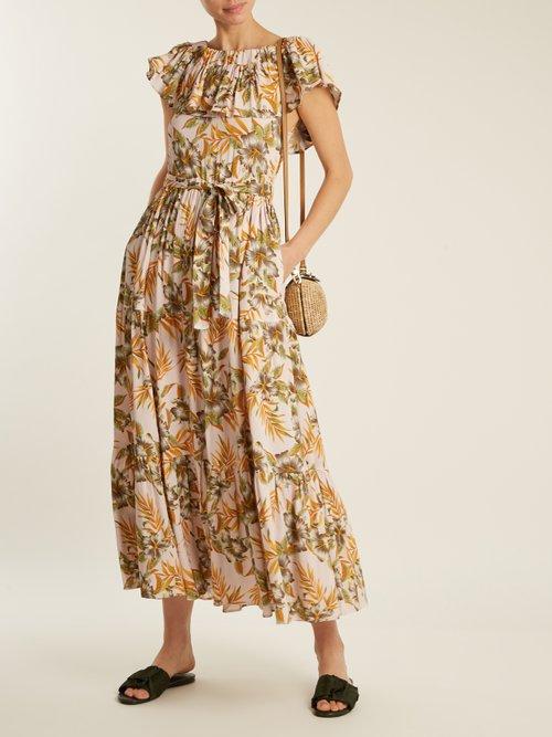 Floral Print Stretch Woven Dress by La Doublej