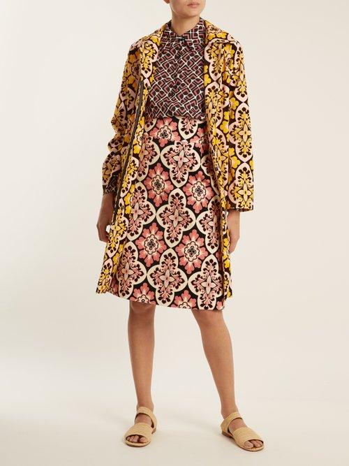 Tile Print Cotton Velvet Coat by La Doublej