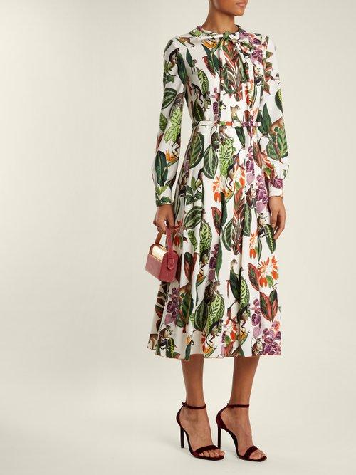 Shop Oscar De La Renta Jungle-print tie-neck silk-blend georgette dress online sale