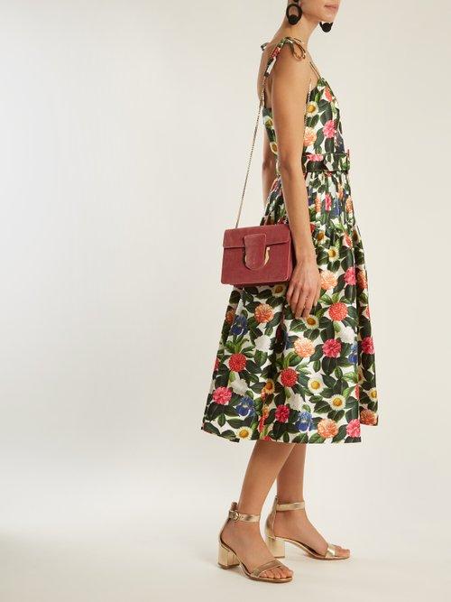 Floral Print Silk And Cotton Blend Dress by Oscar De La Renta