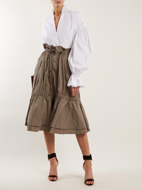 Ruffled-collar cotton-poplin blouse by Jonathan Simkhai