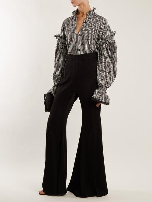 Ruffled-collar smocked gingham blouse by Jonathan Simkhai