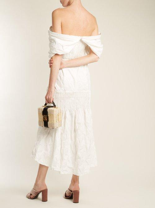Smocked Off Shoulder Dress by Jonathan Simkhai