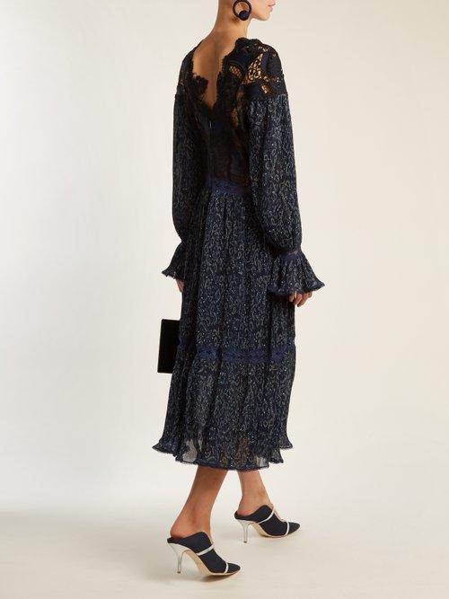 Lace-insert paisley-print pleated dress by Jonathan Simkhai