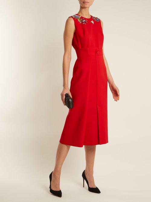 Embellished-neck sleeveless pencil dress by Alexander Mcqueen