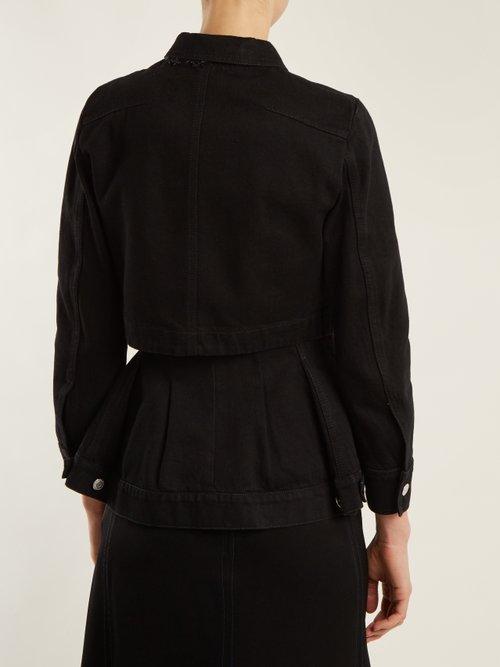 High-neck peplum-hem denim jacket by Alexander Mcqueen