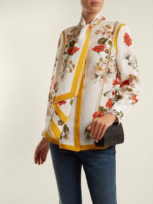 Tie-neck floral-print silk-crepe blouse by Alexander Mcqueen