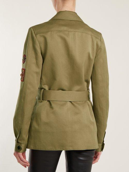 Cargo-pocket belted cotton-linen military jacket by Saint Laurent