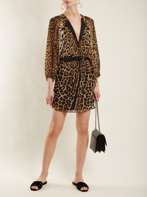 Leopard-print georgette dress by Saint Laurent