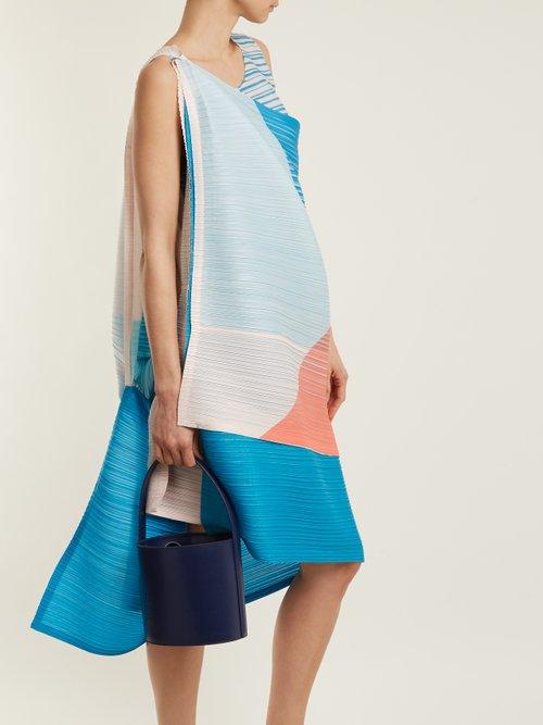 Pleated triangular-print dress by Pleats Please Issey Miyake