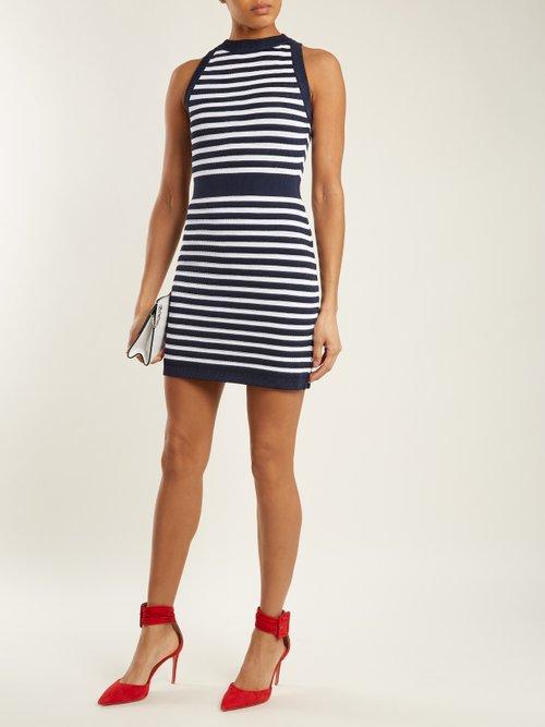 Sleeveless striped-knit dress by Balmain