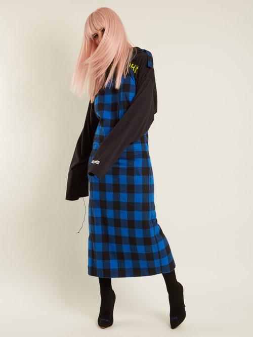 Shop Vetements Checked flannel apron dress online sale