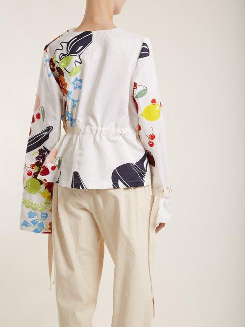 Floral and fruit-print tie-waist jacket by Loewe