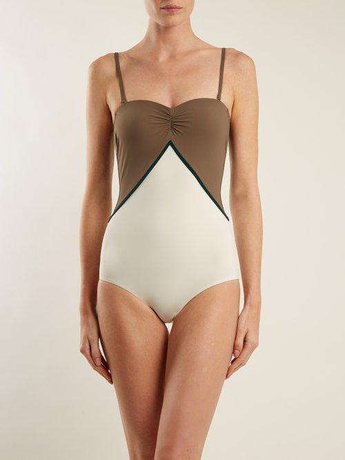 Halki strapless colour-block swimsuit by Zeus + Dione