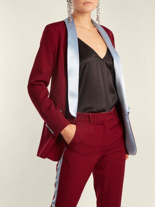 New York Contrast Lapel Wool Blazer by Racil
