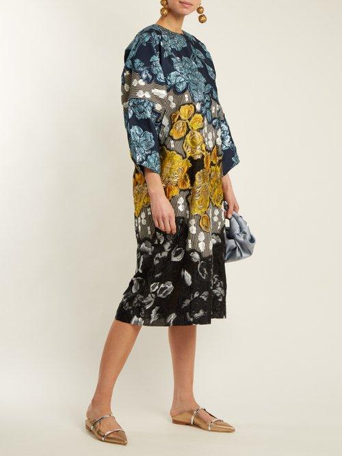 Shop Biyan Floral-brocade embellished dress online sale