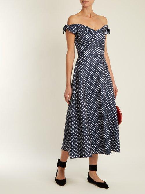 Ruth polka-dot print off-the-shoulder dress by Saloni