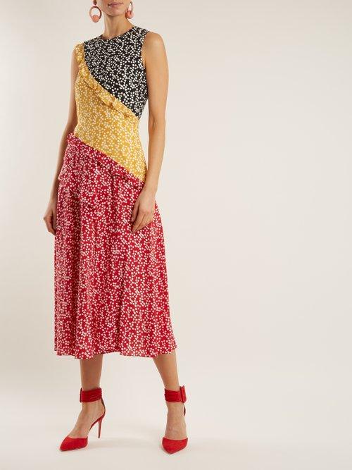 Agnes Knot-print silk crepe de Chine dress by Saloni