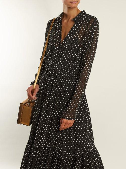 Alexia dobby-dot chiffon dress by Saloni