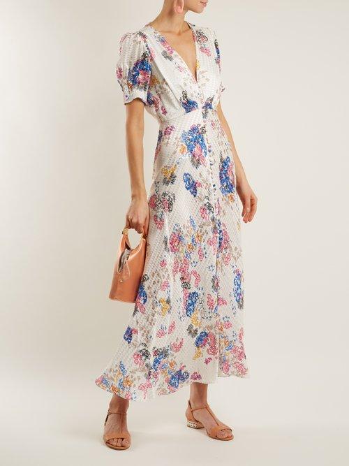 Lea deep V-neck floral-print silk-jacquard dress by Saloni
