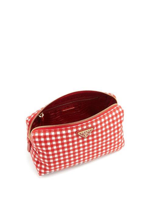 Gingham woven make-up bag by Prada