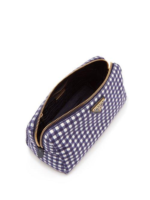 Gingham cotton make-up bag by Prada