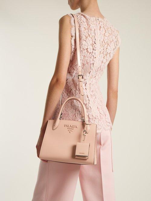 Monochrome small leather bag by Prada