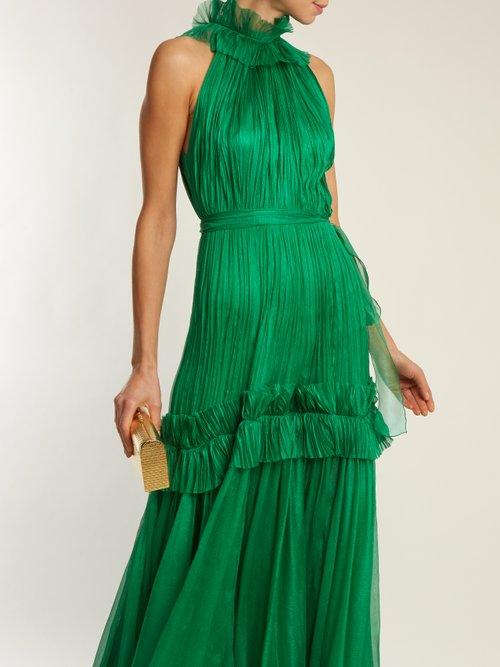 Shop Maria Lucia Hohan Saffia pleated halterneck tulle gown online sale