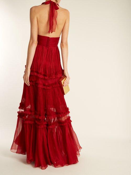 Shop Maria Lucia Hohan Kalina halterneck silk-mousseline gown online sale