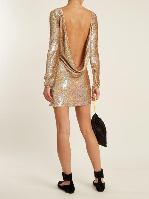 Cowl Back Sequin Embellished Long Sleeved Dress by Ashish