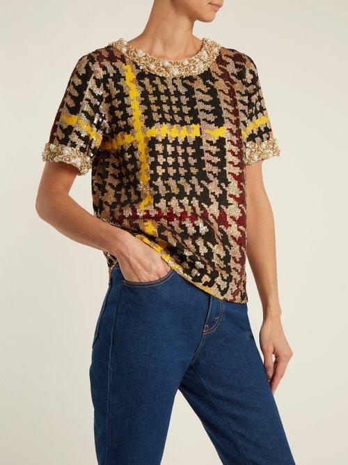 Short Sleeved Houndstooth Sequin Embellished Top by Ashish