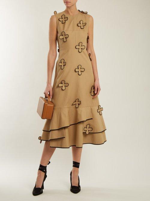 Corby ruffled-hem cotton-blend dress by Huishan Zhang