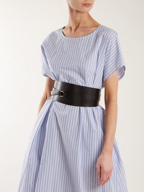 Striped oversized cotton-poplin dress by Mm6 Maison Margiela