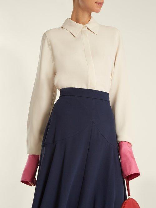 Kanika contrast-cuff silk-georgette blouse by Roksanda