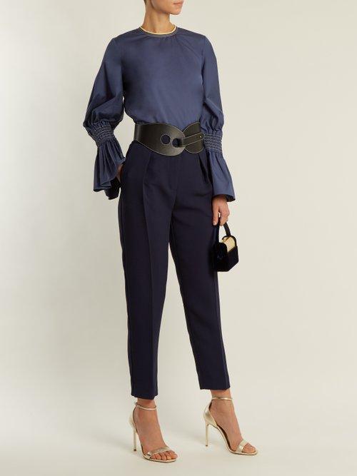 Photo of Surikov High Rise Peg Leg Trousers by Roksanda - shop Roksanda online sales
