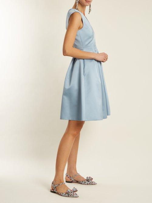 V-neck pleated duchess-satin dress by Rochas