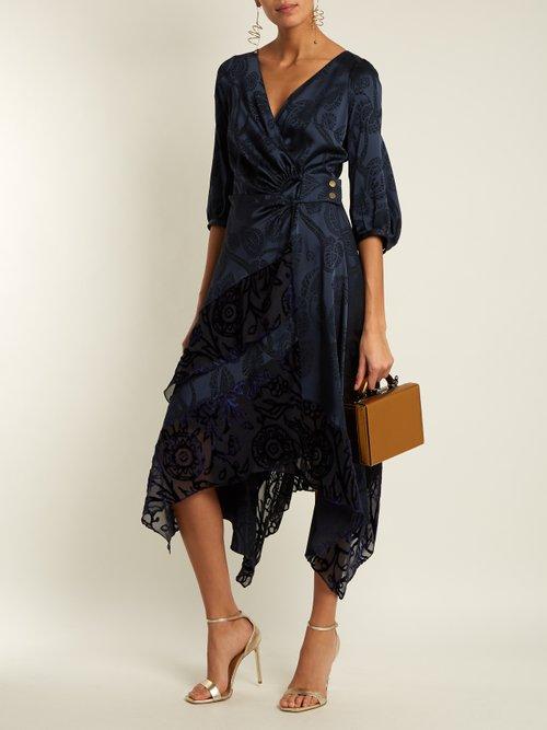Floral-jacquard satin wrap dress by Peter Pilotto